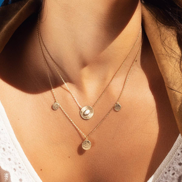 Gold-plated White Calypso necklace duo