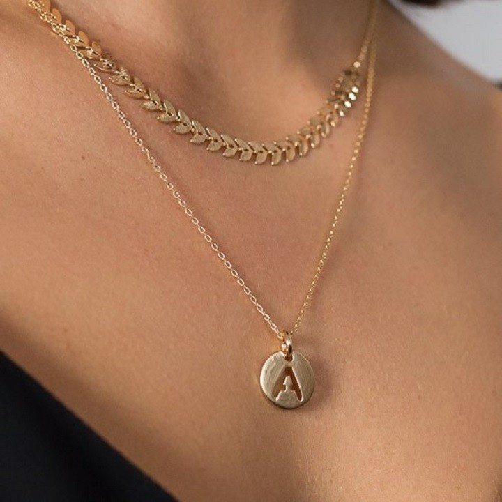 Initial and laurel necklaces duo