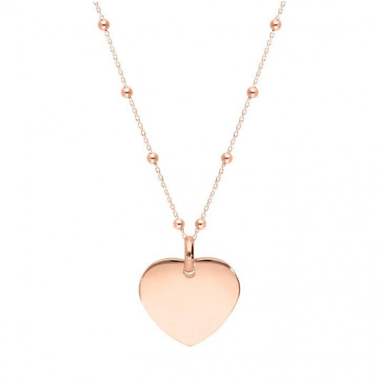 Beaded chain necklace with curved heart medal