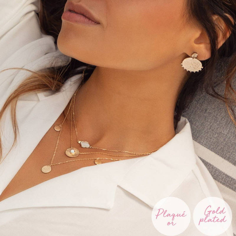 Rose gold-plated White turquoise Calypso necklace