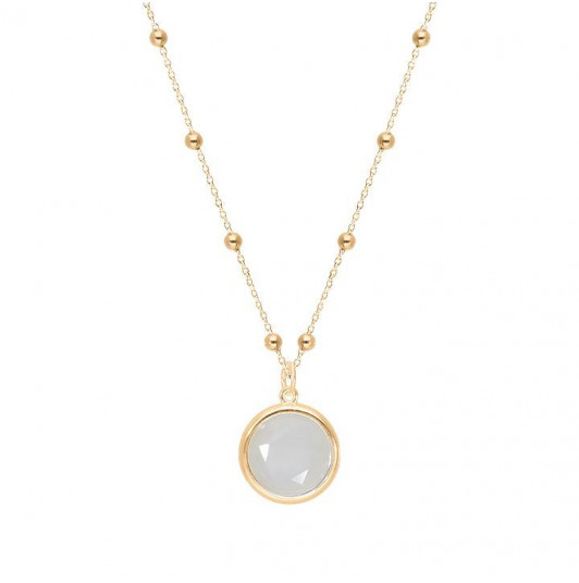 Beaded chain necklace with Moonstone medal