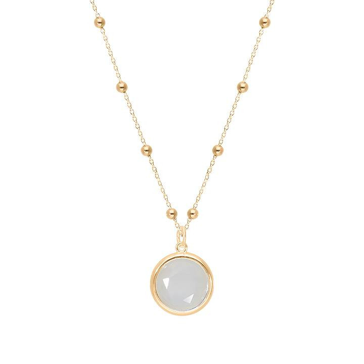 Gold-plated beaded chain necklace with moonstone medal