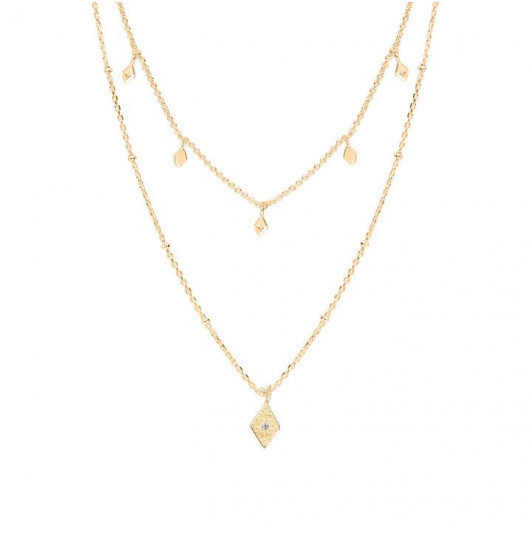 Two-row chain necklace with lozenge charms