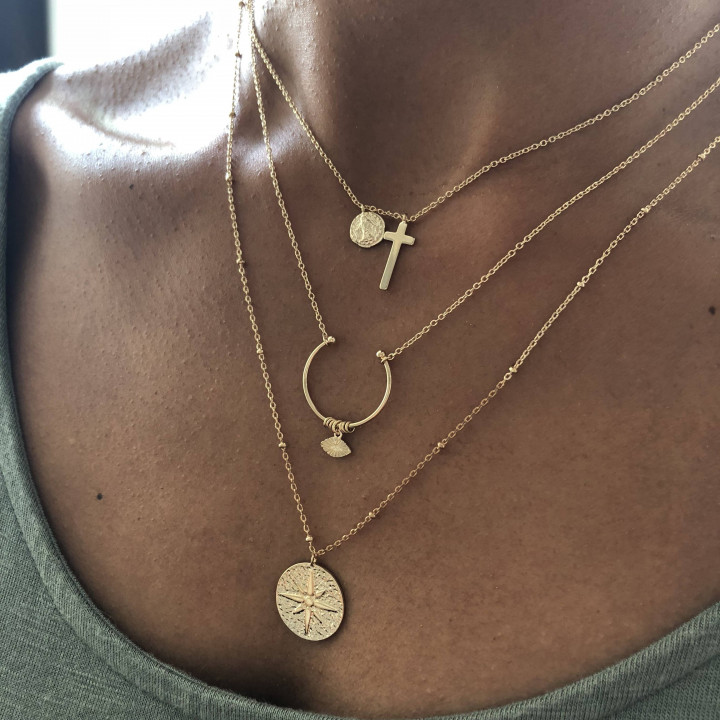 Gold-plated wind rose beaded chain necklace
