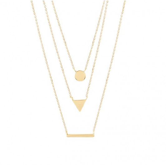 Triple row necklace with medal, triangle and row
