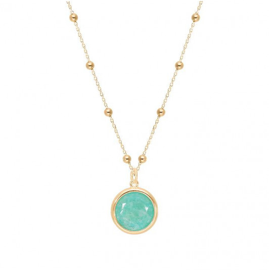 Beaded chain necklace with Amazonite medal