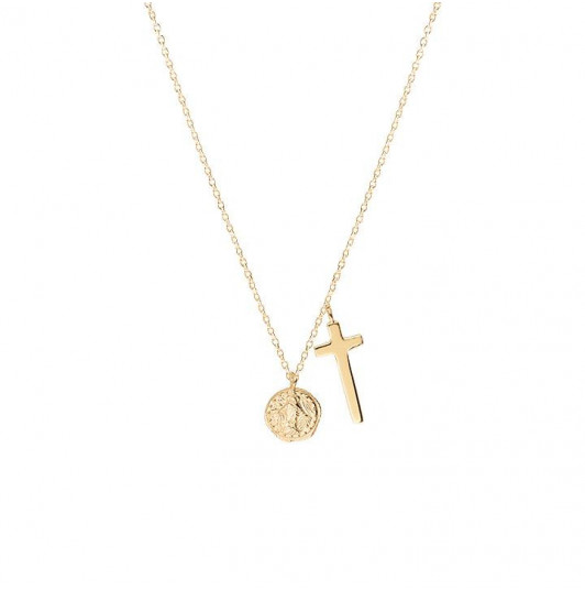 Cross and medal chain necklace