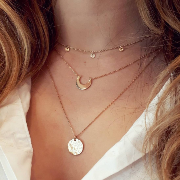 3 small medals gold-plated chain necklace