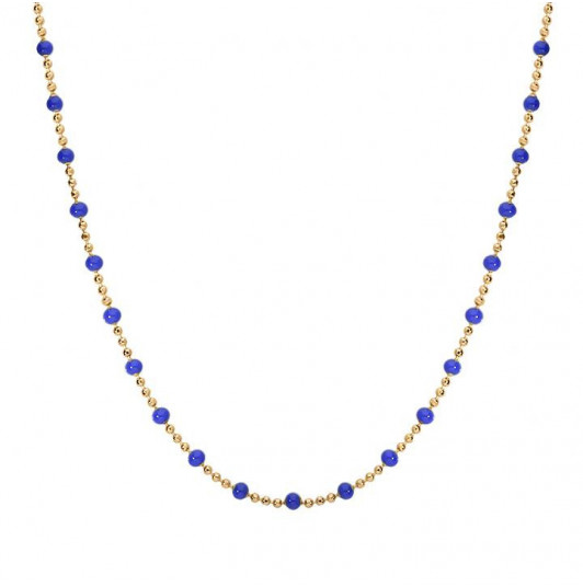 Mini blue beads chain necklace