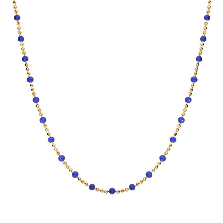 Gold-plated mini blue beads chain necklace