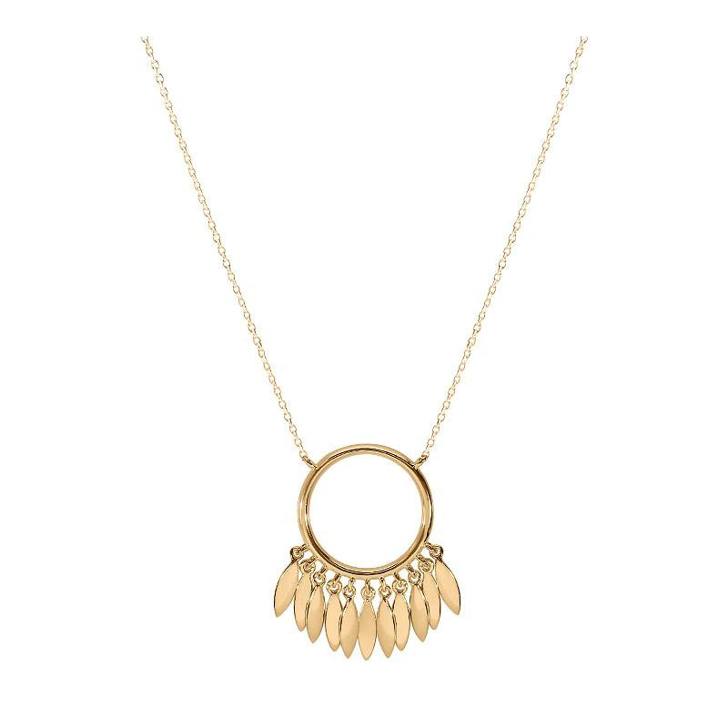Circle & petals chain necklace