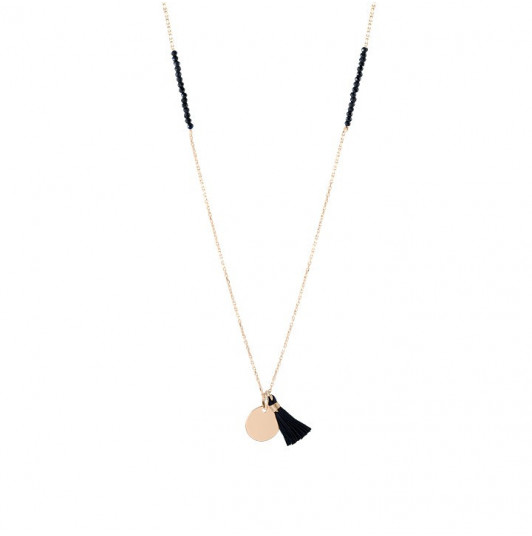 Long necklace with spinels, medal and pompom