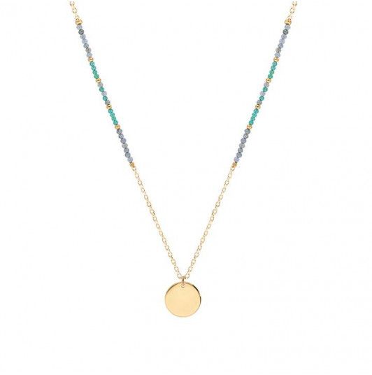 Long necklace with labradorite, emerald and medal