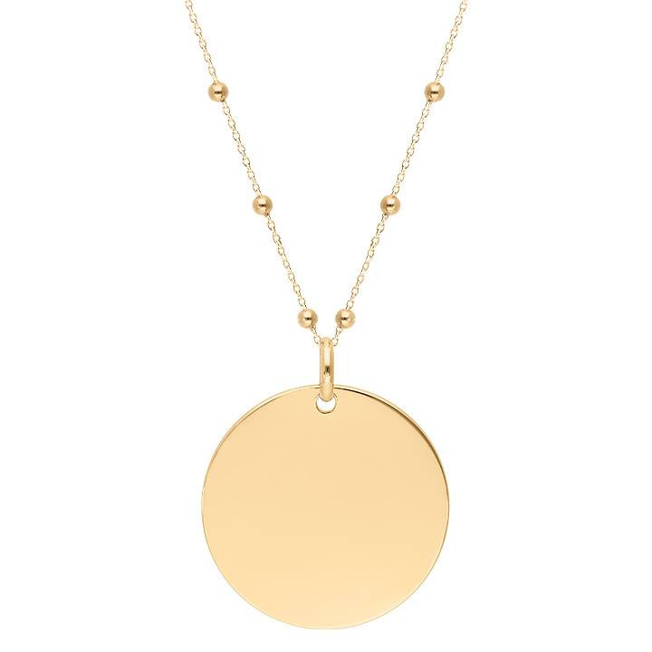 Gold-plated long chain necklace with large hammered medal