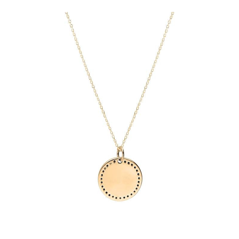 Gold-plated small dotted medal chain necklace