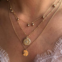Gold-plated Nova medal beaded chain necklace