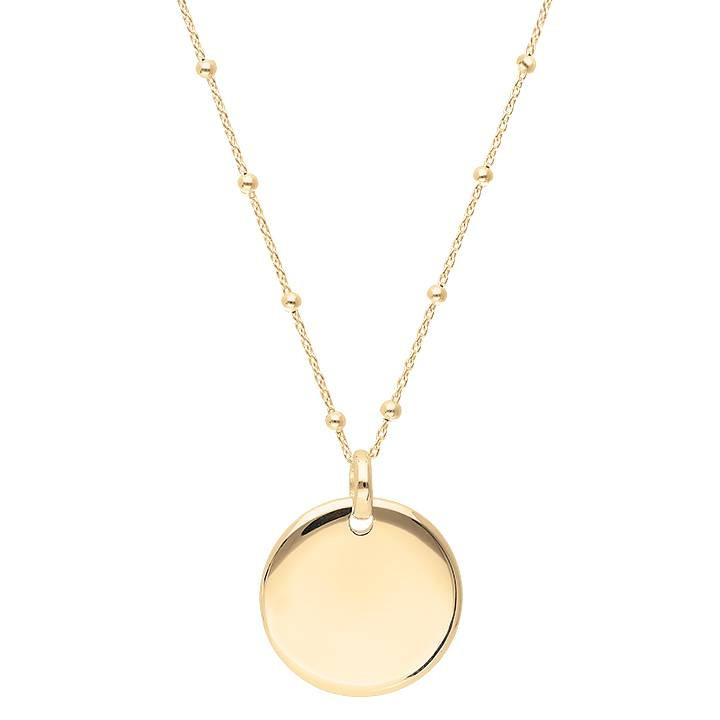 Gold-plated beaded chain necklace with curved medal
