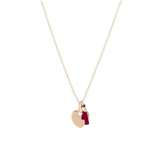Chain necklace with small heart and pompom for children