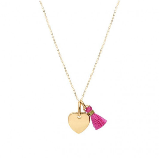 Chain necklace with small heart and pompom