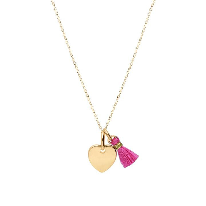 Chain necklace with small heart medal and pompom