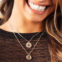Gold-plated Solar medal chain necklace