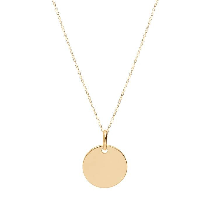 Gold-plated flat medal chain necklace