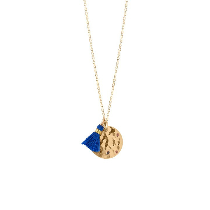 Chain necklace with hammered medal and pompom