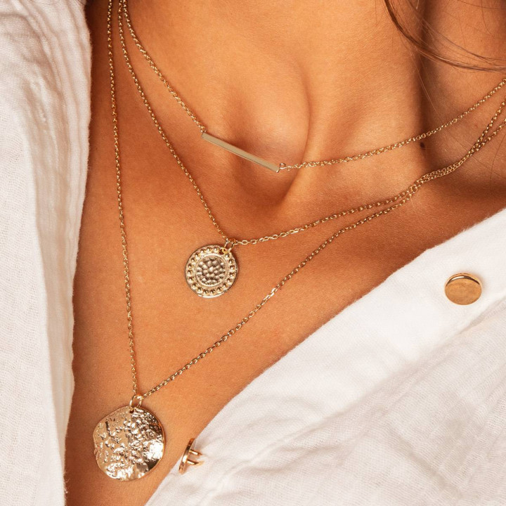 Gold-plated Gaïa medal beaded chain necklace
