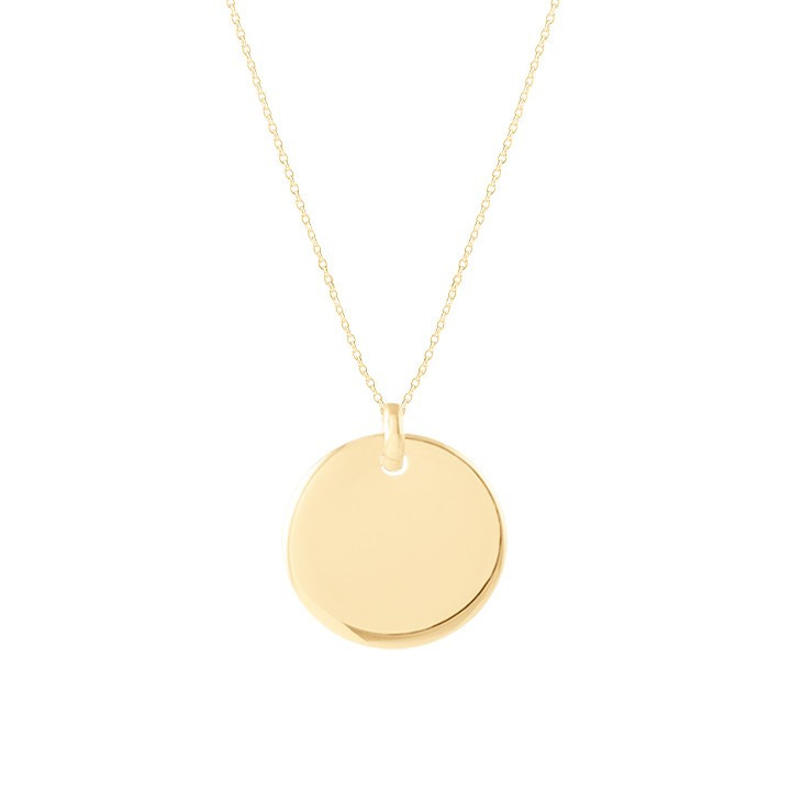 Gold-plated chain necklace with curved medal