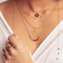 Gold-plated zircon star chain necklace