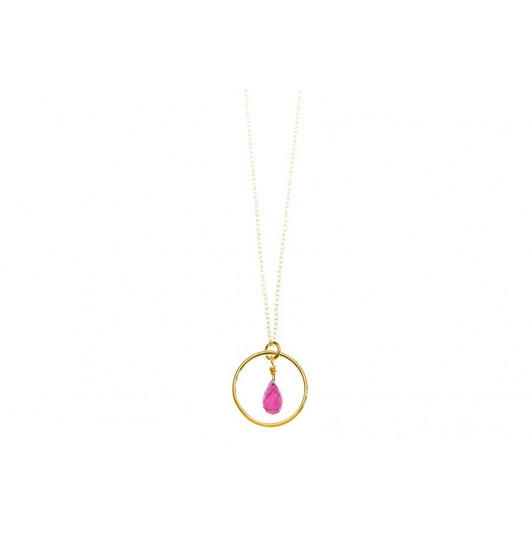 Chain necklace with ring and ruby