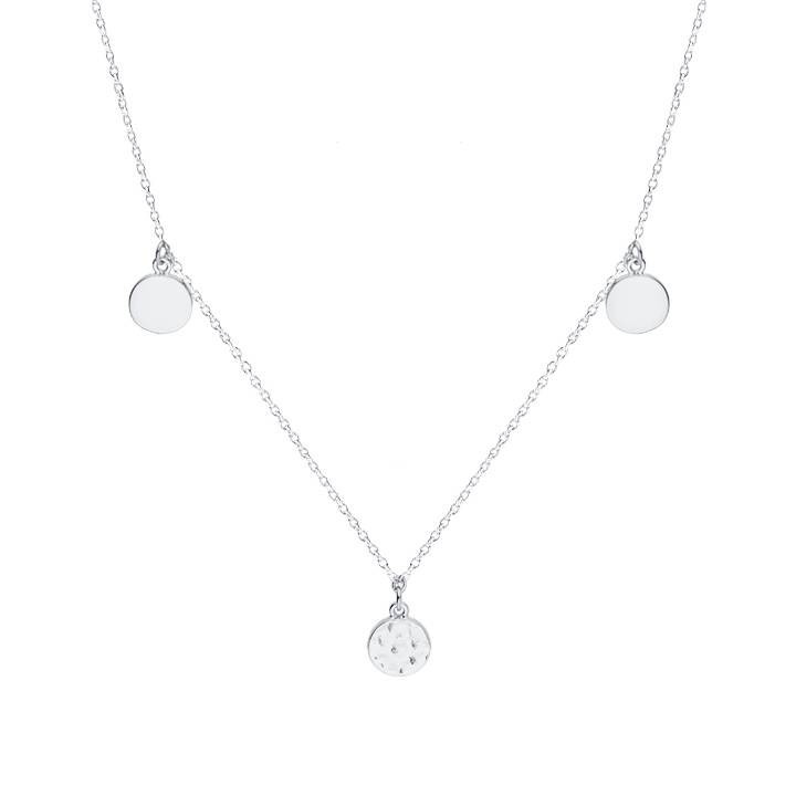 925 silver large smooth & hammered medals chain necklace