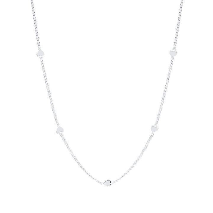 925 Silver mini heart medals chain necklace