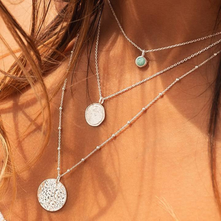 925 Silver beaded chain necklace with hammered medal