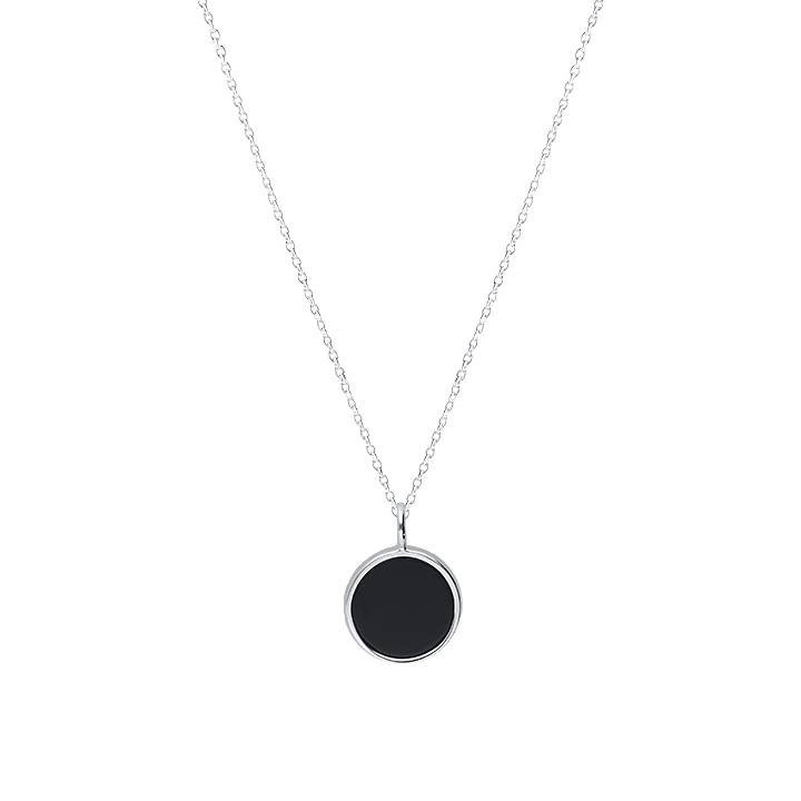 Small black medal necklace