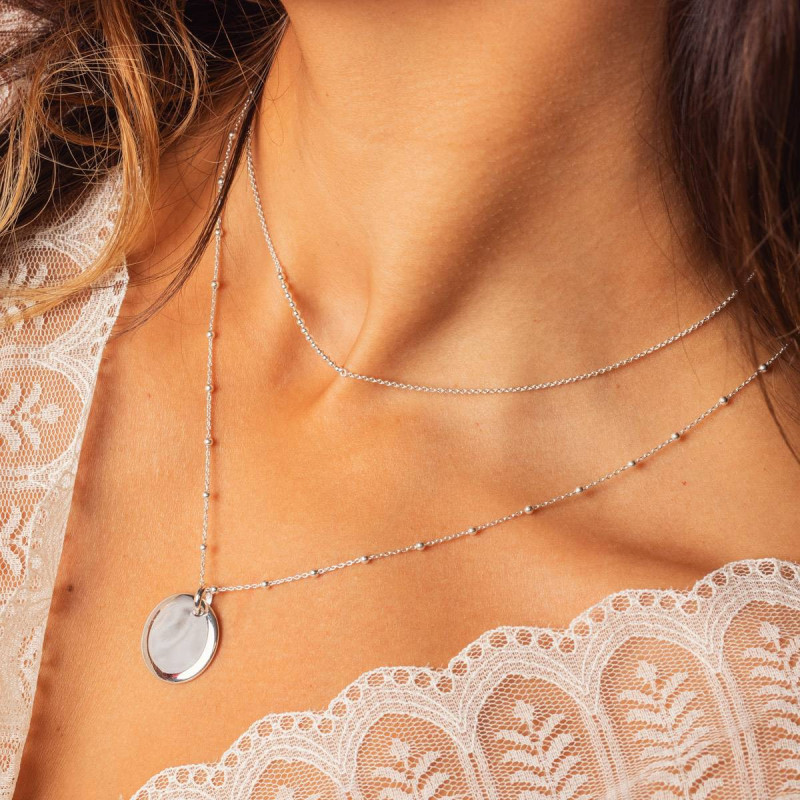 925 Silver beaded chain necklace with curved medal