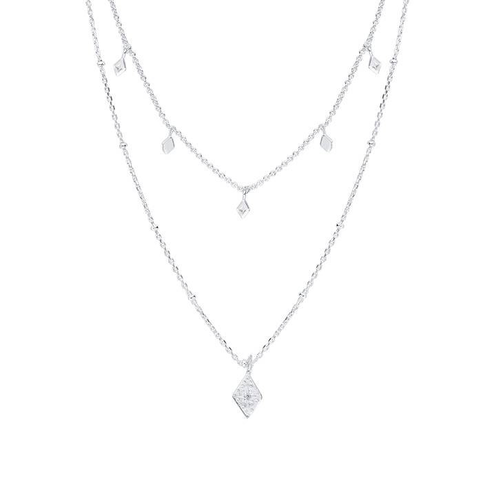 925 Silver two-row chain necklace with lozenge charms
