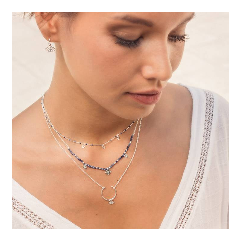 925 Silver chain necklace with open ring