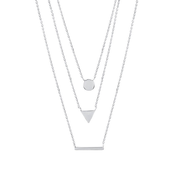 Triple row necklace with medal, triangle and line