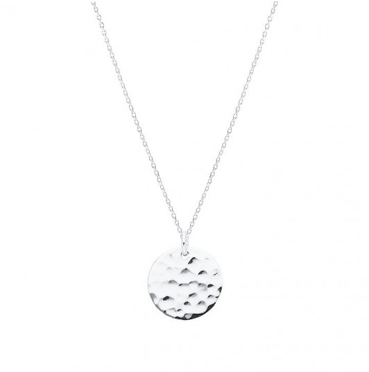 Chain necklace with small hammered medal
