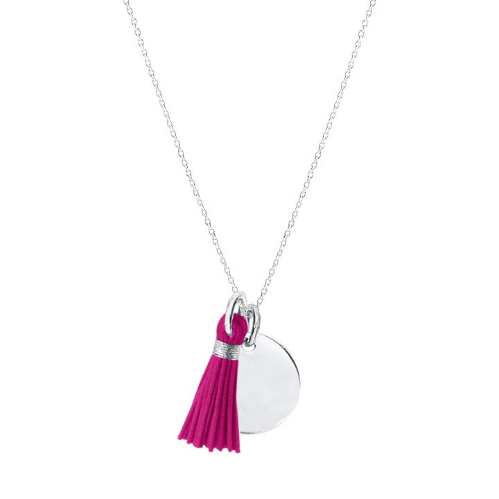 925 Silver chain necklace with medal and pompom
