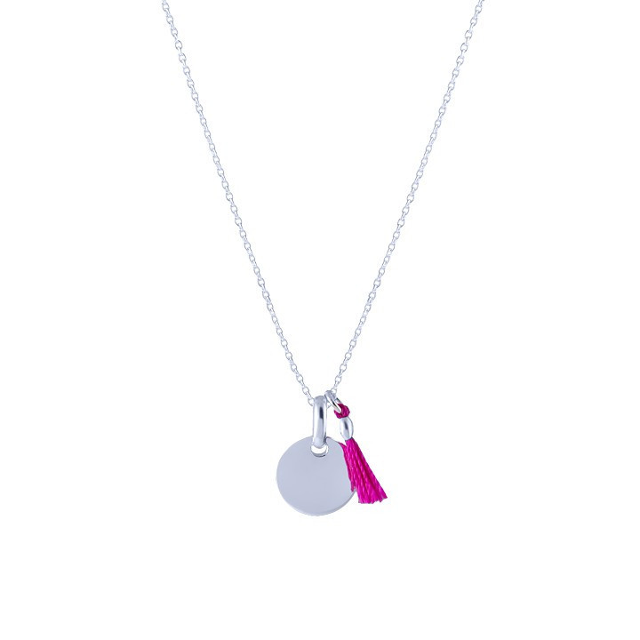 Chain necklace with small medal and pompom