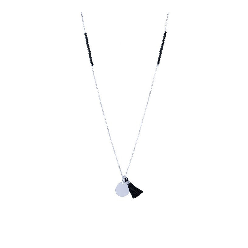 Long necklace with spinels medal and pompom