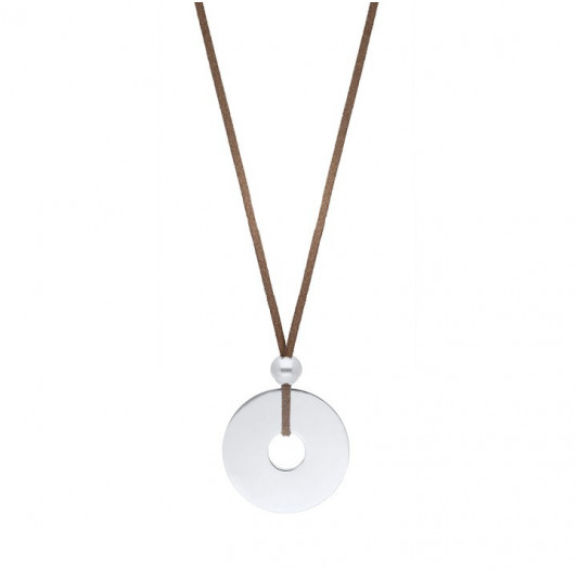Suede necklace with large target charm