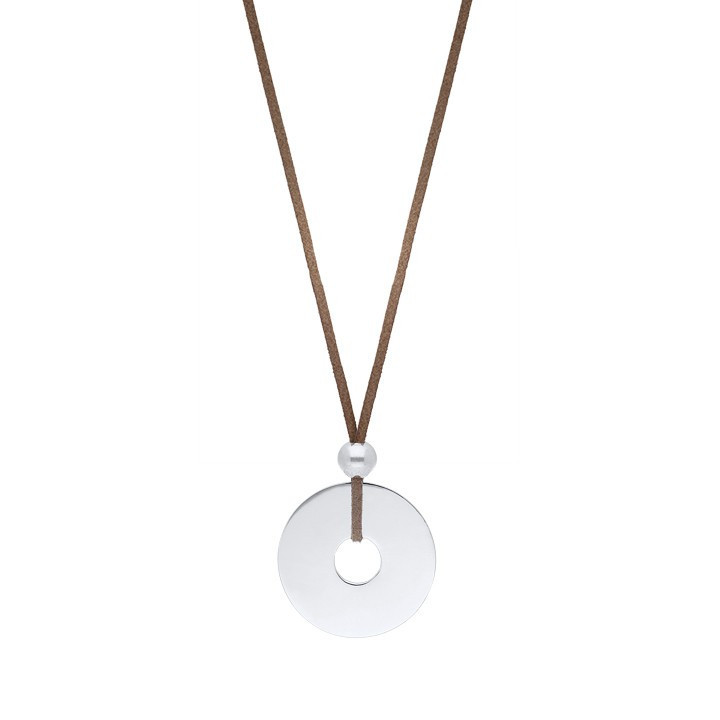 Suede necklace with 925 silver large target charm