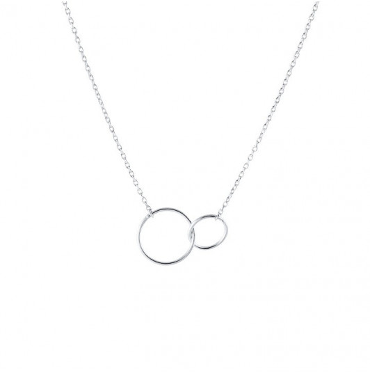 Interlaced small rings chain necklace