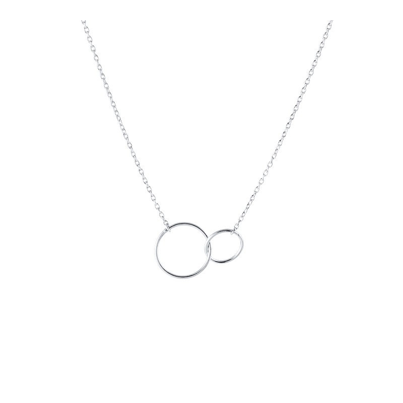 925 Silver chain necklace with double ring