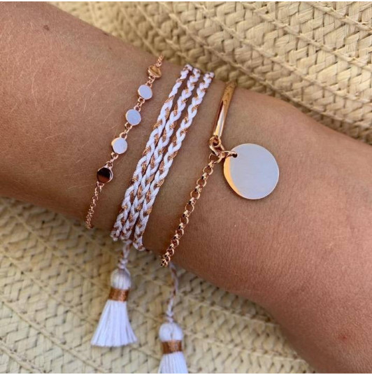 Gold-plated white triple braided tie bracelet with pompoms