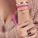 Half bangle and chain bracelet with perforated initial letter