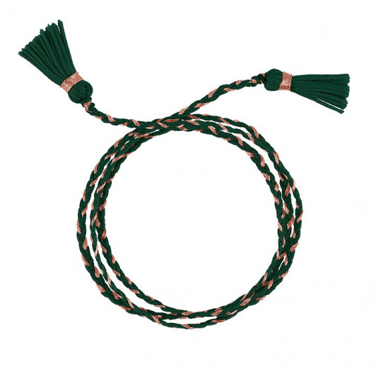 Dark green triple braided tie bracelet with pompoms